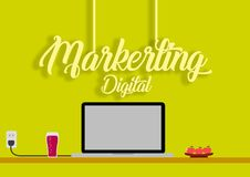 Marketing Digital Strategy ,Marketing Digital Analytics, flat , Vector , Business. High Resoulution, High Quality ,300 Dpi Royalty Free Stock Photography
