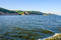 High right Bank of the Volga river, Russia. Photographing from the ship Stock Photography