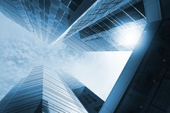 High rise. Two buildings and overpass in blue Royalty Free Stock Images