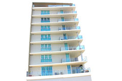 High rise apartment building. High rise holiday apartment building in Queensland, Australia isolated on a white background Stock Images