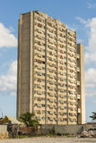 High-rise apartment building Vedado Havana. High-rise apartment building Girón at Malecon in Vedado, Havana, Cuba Stock Photo