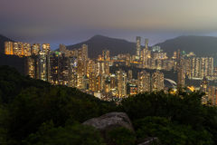 High-rise apartment buildings on Hong Kong Island at night Royalty Free Stock Photography
