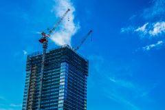 High-rise apartment under construction royalty free stock photos