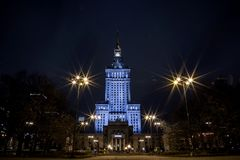 High-rise building. Center of Warsaw Night city. Warszawa. Poland. Polska. Palace of Culture and Science. High-rise building. Center of Warsaw Night city royalty free stock photography