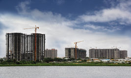 High-Rise Building Construction. Employing modern construction methods stock photo