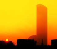 High-rise building at daybreak Stock Photos