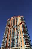 High Rise Building Detail Blu Sky. Miami Beach high rise modern building royalty free stock photography