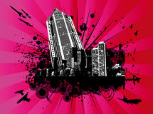 High-rise building in explodin. G city vector illustration Stock Image