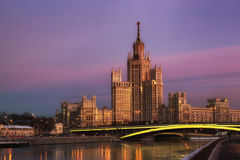 High-rise building on Konelnicheskaya Embankment in Moscow Royalty Free Stock Images