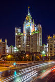 High-rise building on Kotelnicheskaya embankment in Moscow at ni Royalty Free Stock Photography