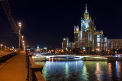 High-rise building on Kotelnicheskaya embankment in Moscow at ni Royalty Free Stock Image