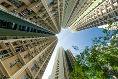 High rise building from low angle. Beautiful scenery landscape in the city Stock Images