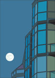 High-rise building and the moon Stock Photo