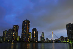 High rise building at night. Sumida River in Tokyo Bay royalty free stock photography