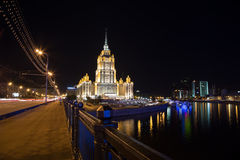 High-rise building at night, Moscow, Russia Royalty Free Stock Image