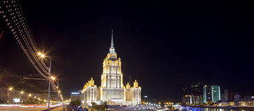 High-rise building at night, Moscow, Russia Royalty Free Stock Photos