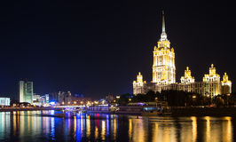 High-rise building at night, Moscow,  Royalty Free Stock Photography