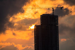 High-rise building and red sunset Stock Photography