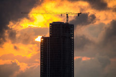 High-rise building and red sunset Royalty Free Stock Photo