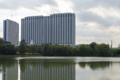 High-rise building by the river in Moscow. royalty free stock photography