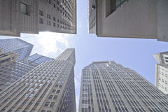 High rise building. Upward view of high rise office buildings Stock Photo