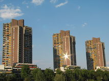 High-Rise buildings. At Neckar, Mannheim, Germany Stock Image