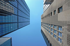 High-rise buildings. Looking up at high-rise buildings in New York City Stock Images