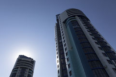 High-rise buildings against the sky. In perspective Royalty Free Stock Image