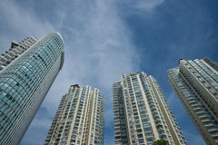 High-rise buildings with blue sky Royalty Free Stock Images