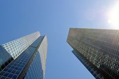 High-rise buildings. Bottom view. Stock Photos