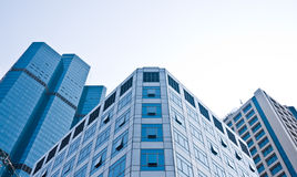 High rise buildings in CBD area. High rise and modern buildings in shade of blue, in the heart of CBD area of Bangkok Stock Image