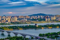 Beautiful morning in Changsha city. China 2017. High-rise buildings of Changsha city during the morning sunrise. China 2017. Urban lanscape. Arhitecture. City Royalty Free Stock Photography