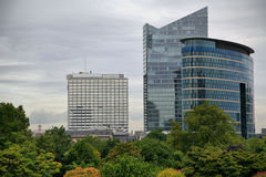 High-rise buildings on cloudy day in Brussels. Belgium Royalty Free Stock Photo