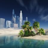 High-rise buildings in the desert. oasis with palm trees. Stock Photos