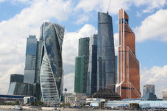 High-rise buildings of financial and business center Moscow-City Stock Images