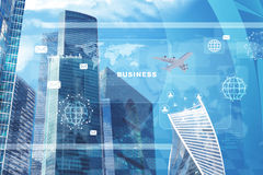 High-rise buildings with jet and envelope icon. High-rise buildings with jet on blue sky background Royalty Free Stock Photo