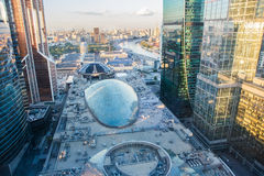 High rise buildings of Moscow business center. Moscow - city Royalty Free Stock Photography