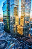 High rise buildings of Moscow business center. Moscow - city Royalty Free Stock Photos