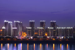 High-rise buildings at night Stock Photo
