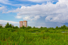 High-rise buildings in an outdoor. High-rise buildings constructed in the natural area of Yaroslavl Stock Photography