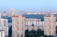 High-rise buildings at overcast day in Moscow Stock Photos
