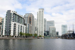 High rise buildings by the riverside. High rise apartment buildings by the riverside Royalty Free Stock Photo