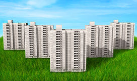 High-rise buildings of same design over green hills 3d render.  Royalty Free Stock Image