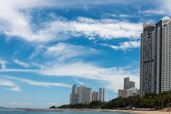 High-rise buildings by the sea stock photography
