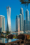 High rise buildings and streets in Dubai, UAE Stock Photos