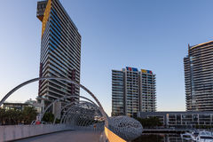 High rise buildings and Webb bridge Royalty Free Stock Image