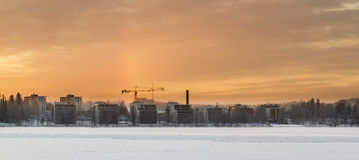 High-rise buildings in winter landscape. At cold day Stock Photo
