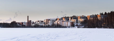 High-rise buildings in winter landscape Royalty Free Stock Photo