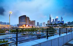 City tall buildings night view Royalty Free Stock Image