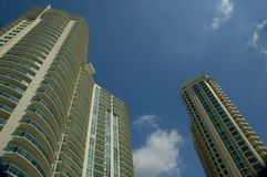 High rise condominiums. Multi storied buildings. Represents condominiums for home or rental. Downtown living stock image